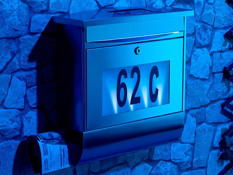 lunartec edelstahl briefkasten mit solar leucht hausnummer beleuchtung neu ebay. Black Bedroom Furniture Sets. Home Design Ideas