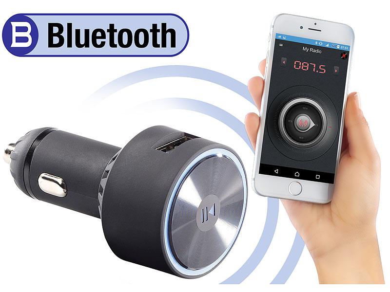 Audio Adapter, Bluetooth auvisio Auto Bluetooth Kfz-FM-Transmitter FMX-520.BT mit Bluetooth und App-Steuerung